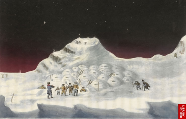 Image of John Ross, the Inuit and their igloos