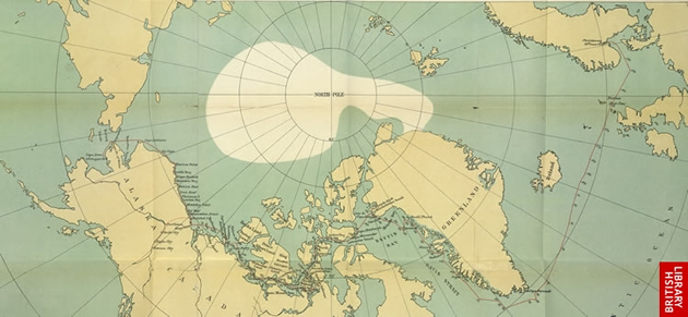 Image of Amundsen's route map through the Northwest passage
