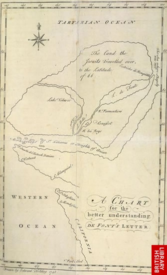 Image of a fictitious map of a Spanish voyage
