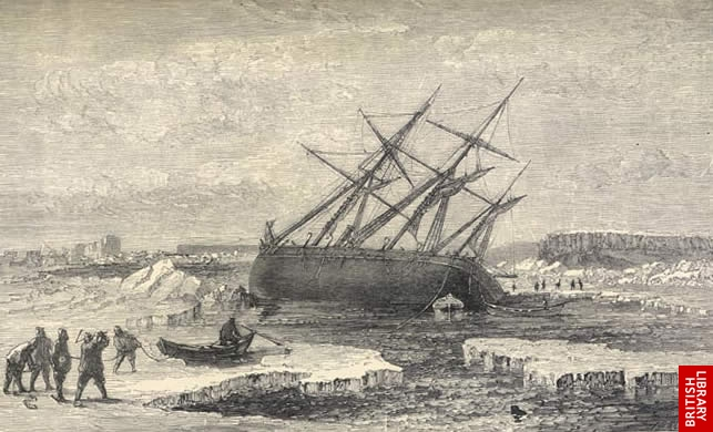 Image of McClintock's ship falling on it's side on a rock