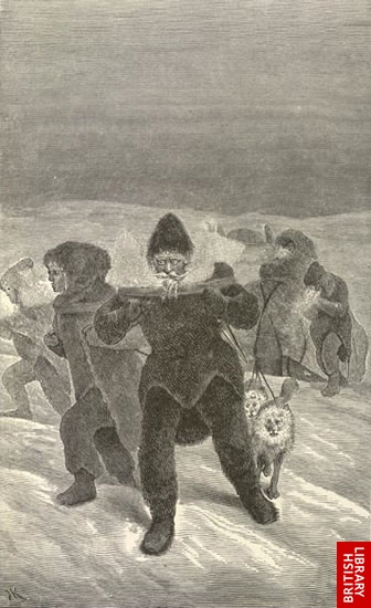 Image of Schwatka and his sledge party in extreme weather