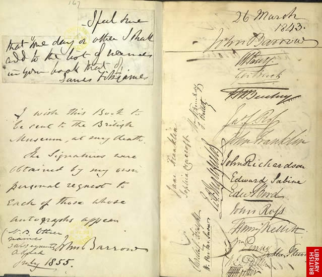 Image of arctic explorer's signatures in Barrow's book
