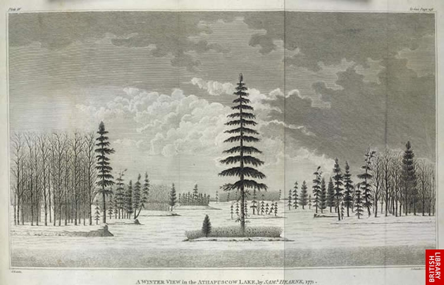 Image of a winter scene drawn by Hearne