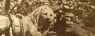 Raising the colossal lion at Cnidus,
