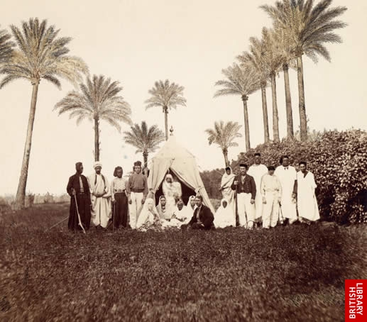 Miss Tinne and her followers during her visit to Gerhard Rohlfs' camp near Tripoli