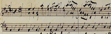 Image from the score of 'Messiah' autograph composition draft, 'Amen Chorus'
