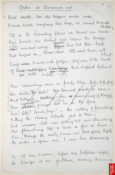 dulce et decorum est by wilfred owen commentary essay Below is an essay on wilfred owen from anti essays, your source for research papers, essays, and term paper examples  poems such as 'dulce et decorum est .