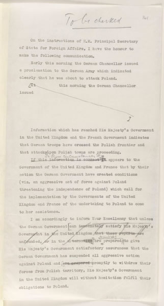 Image of the draft of ultimatum to be sent to German Government