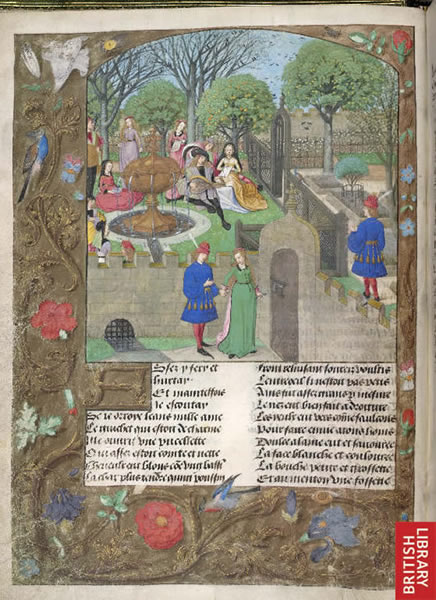 Lutenist and singers in a garden: an image from Roman de la Rose