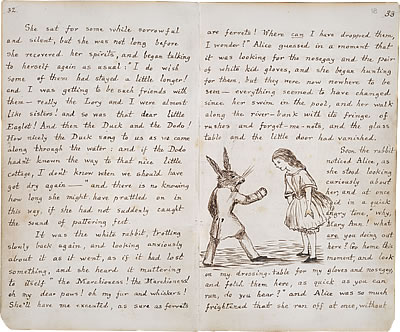 Image of Lewis Carroll's Alice's Adventures Under Ground - Pages 32 and 33
