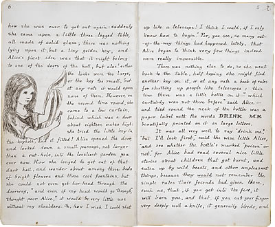 Image of Lewis Carroll's Alice's Adventures Under Ground - Pages 6 and 7