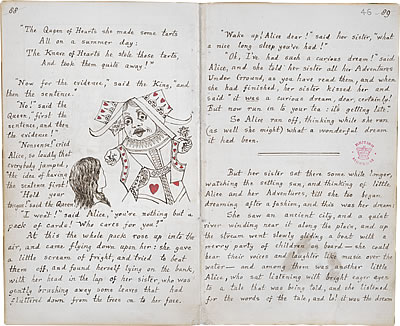 Image of Lewis Carroll's Alice's Adventures Under Ground - Pages 88 and 89