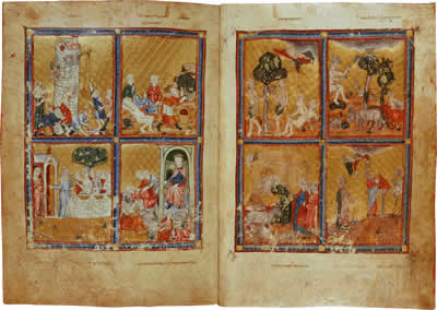 Turning the Pages - Golden Haggadah: Scenes from Genesis, folios 2v - 3.