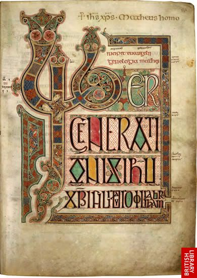 Lindisfarne Gospels, page 10 - the opening page of St Matthew's Gospel