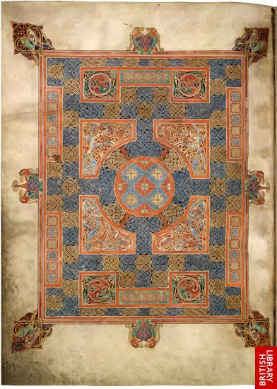 Lindisfarne Gospels, page 17 - the cross-carpet page at the beginning of St Mark's Gospel