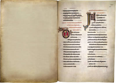 Virtual books: images only - Lindisfarne Gospels: List of Readings from St John  f. 208