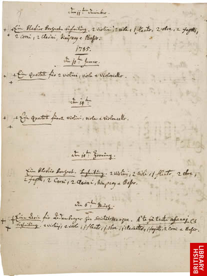 Image of Mozart's Thematic Catalogue, page 1