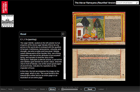 View the digitally reunified Mewar Ramayana in 'Turning the Pages'