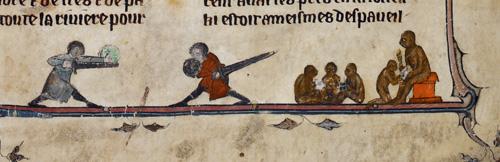 Men fighting and monkeys at school