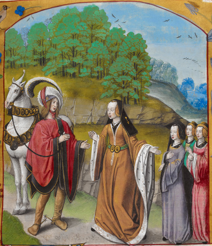 Imagination introducing the knight to the three Virtues