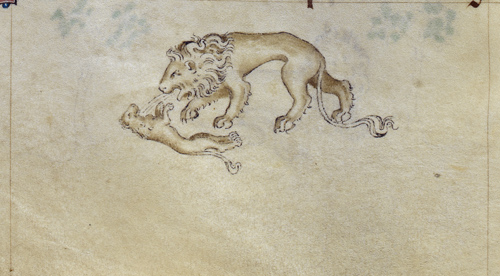 Lion breathing life into a cub