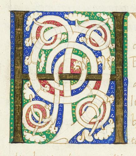 Detail: White vine initial