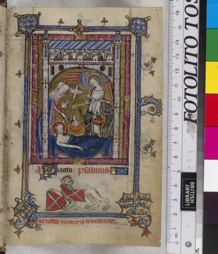 Below, a lion passant, holding a shield ~gules~, a ...