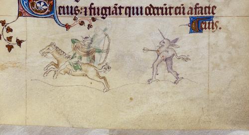 Horseman and grotesque