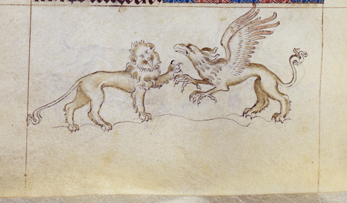 Lion and griffin