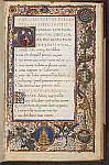 Historiated initial, and border with emblems
