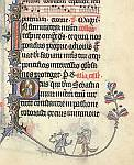 Historiated initial and bas-de-page