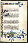Illuminated initial and border with heraldic arms