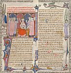 Detail: Emperor Justinian, initial and border