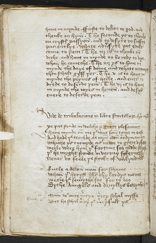 Text on the six holy thoughts; Middle English verse