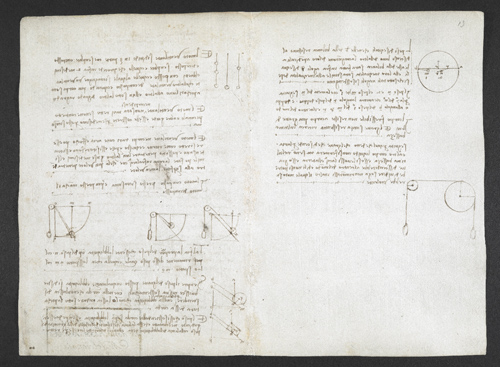 f. 2v, displayed as an open bifolium with f. 13: notes and diagrams