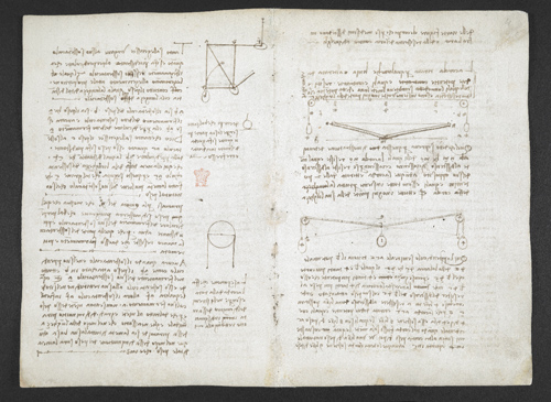 f. 4, displayed as an open bifolium with f. 11v: notes and diagrams