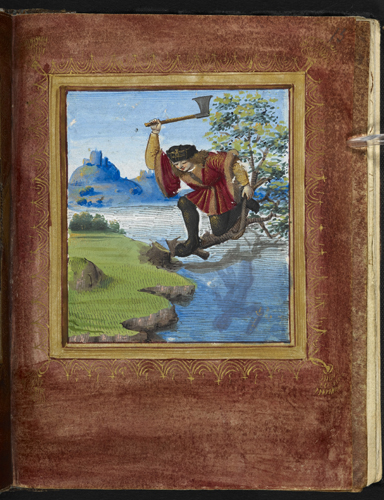 Cutting off the branch on which he sits. From the Catalog of Illuminated MS at the British Library