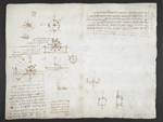 f. 34v, displayed as an open bifolium with f. 35: notes and sketches