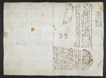f. 74, displayed as an open bifolium with f. 77v: diagrams, sketch