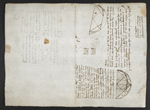 f. 77v, displayed as an open bifolium with f. 74: notes and diagrams