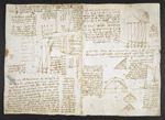 f. 78v, displayed as an open bifolium with f. 73: diagrams, notes, calculations