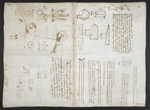 f. 133v, displayed as an open bifolium with f. 130: sketches and diagrams