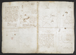 f. 134, displayed as an open bifolium with f. 135v: sketches and diagrams