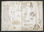 f. 136, displayed as an open bifolium with f. 137v: sketches, diagrams and musical notation