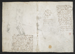 f. 136v, displayed as an open bifolium with f. 137: sketches