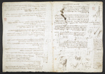 f. 165v, displayed as an open bifolium with f. 164: sketches