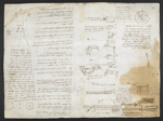f. 175, displayed as an open bifolium with f. 174v: sketches and diagrams