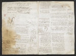 f. 175v, displayed as an open bifolium with f. 174: sketches and diagrams