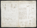 f. 220, displayed as an open bifolium with f. 221v: sketches and diagrams