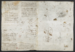 f. 225, displayed as an open bifolium with f. 230v: sketches